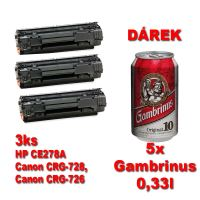 3ks kompatibilní toner HP CE285A, CRG-725, CB435A, CB436A, black, MP print + 5x pivo 0,33l