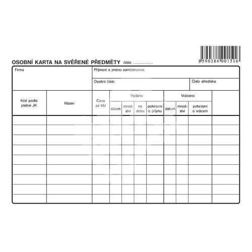 Osobní karta na svěřené předměty A5, OP1151 1