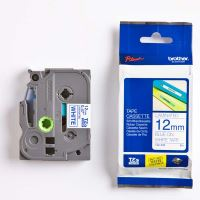 Páska do štítkovače Brother TZE-233, 12mm, modrý tisk/bílý podklad, originál