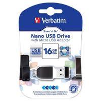 Verbatim Nano Store n Stay 16GB, USB flash disk 2.0, s adaptérem Micro USB, 49821, 1