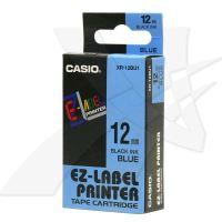 Páska do tiskárny štítků Casio XR-12BU1 12mm černý tisk/modrý podklad