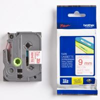 Páska do štítkovače Brother TZE-222, 9mm, červený tisk/bílý podklad, originál