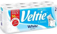 Veltie White toaletní papír bílý 2 vrstvý 180 útržků 16 rolí