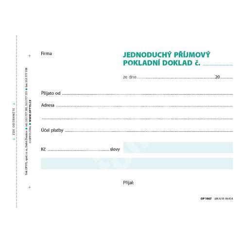 Jednoduchý příjmový pokladní doklad, A6, 100 listů, OP1067 1