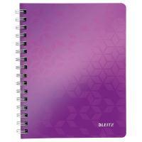 Blok na psaní Leitz WOW A5, linkovaný, drátěná vazba s PP deskami, purpurový
