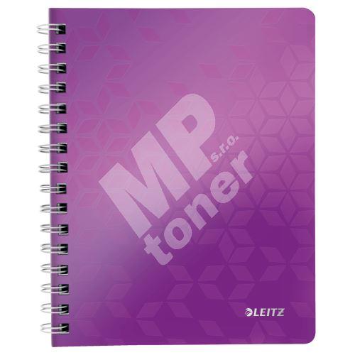 Blok na psaní Leitz WOW A5, linkovaný, drátěná vazba s PP deskami, purpurový 1