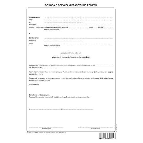 Dohoda o rozvázání pracovního poměru, volný list A4, OP1135 1
