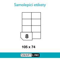 Samolepící bílé etikety Smart Line A4 105 x 74 mm, 100 archů