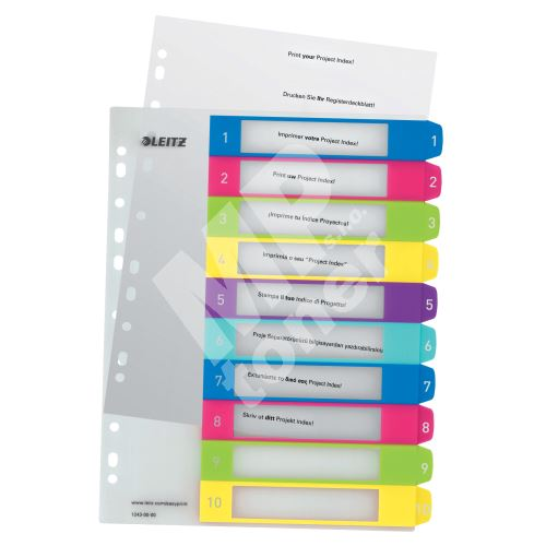 Celoplastové rejstříky Leitz WOW popisovatelné na počítači A4 Maxi, číslo 1-10 1