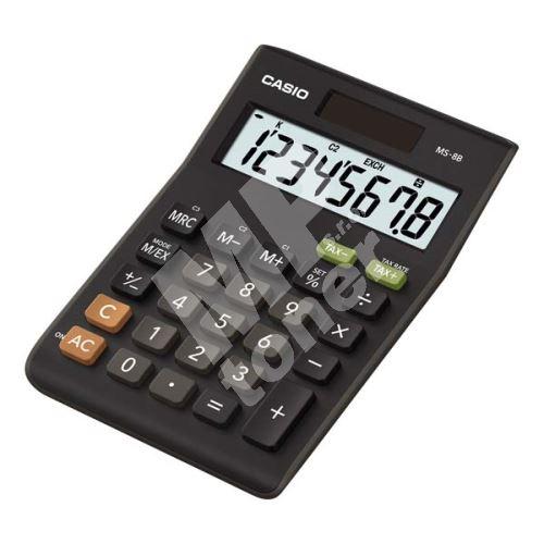 Kalkulačka Casio MS 8 B, černá, stolní s výpočtem DPH, osmimístná