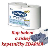 Průmyslová role BulkySoft 100% celulóza, 2 vrstvá, 800 útržků, 26cm, 2 role, bílá (1+kap)