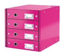 Archivační box zásuvkový Leitz Click-N-Store, 4 zásuvky, růžový