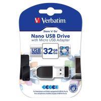 32GB Verbatim Nano Store'n'Stay, USB flash disk 2.0, s adaptérem Micro USB, 49822, černá
