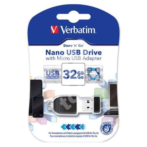 Verbatim Nano Store n Stay 32GB, USB flash disk  2.0, s adaptérem Micro USB, 49822, 1