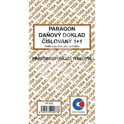 Paragon daňový doklad číslovaný 1+1 samopropis  PT-012 1