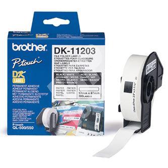 Štítky papírové Brother 17mm x 87mm, bílá, 300 ks, DK11203 1