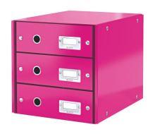 Archivační box zásuvkový Leitz Click-N-Store, 3 zásuvky, růžový