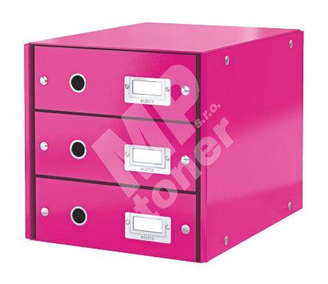 Archivační box zásuvkový Leitz Click-N-Store, 3 zásuvky, růžový 1