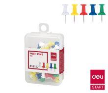 Připínáčky Deli barevné, box 35ks