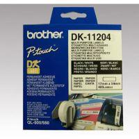 Papírové štítky Brother DK11204, 17mm x 54mm, bílá, 400 ks, pro tiskárny řady QL