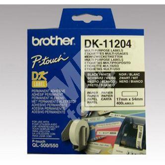 Štítky papírové Brother 17mm x 54mm, bílá, 400 ks, DK11204 1