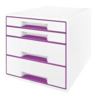 Zásuvkový box Leitz WOW, 4 zásuvky, fialový