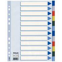 Barevné rozlišovače Esselte A4, plast, 12 dílů, mix barev