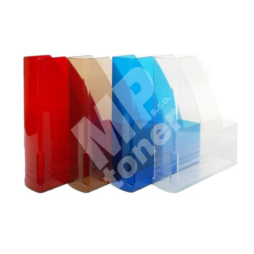 Pořadač na dokumenty A4, plastový 6 cm, magazín box, průhledný modrý 1