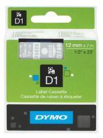 Páska Dymo D1 12 mm bílý tisk/transparentní podklad, 45020, S0720600