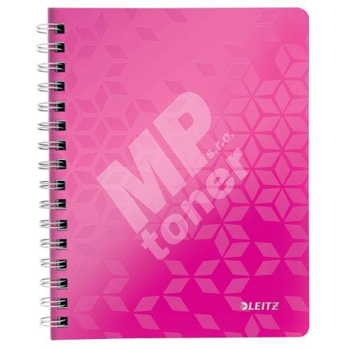 Blok na psaní Leitz WOW A5, linkovaný, drátěná vazba s PP deskami, růžový 1