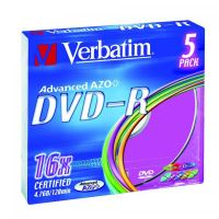 Verbatim DVD-R, DataLife PLUS, 4,7 GB, Colour, slim box, 43557, 16x, 5-pack