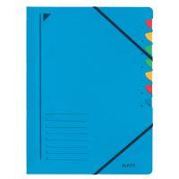 Třídící desky Leitz s gumičkou, 7 přihrádkové, modré
