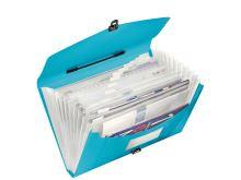 Aktovka s držadlem a 12 přihrádkami, Vivida modrá, A4, plast, Esselte 3