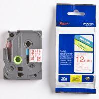 Páska do štítkovače Brother TZE-232 12mm, červený tisk/bílý podklad