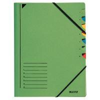 Třídící desky Leitz s gumičkou, 7 přihrádkové, zelené