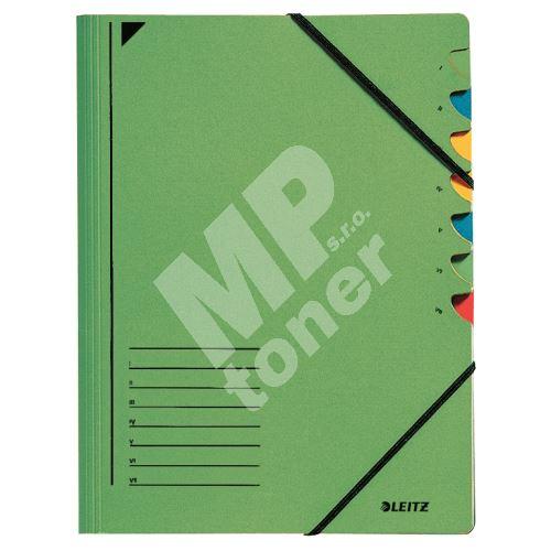 Třídící desky Leitz s gumičkou, 7 přihrádkové, zelené 1