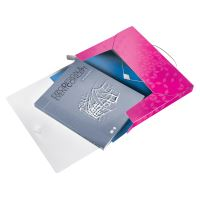 Desky s gumičkou Wow Jumbo, růžová, 30 mm, PP, A4, LEITZ 4