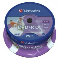 Verbatim DVD+R, DataLife PLUS, 8,5 GB, Wide Printable, cake box, 43667, 8x, 25-pack
