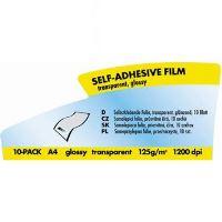 Samolepící fólie, transparetní, průhledná, čirá, A4, 125 g/m2, 10 listů, laser, Logo