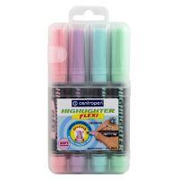 Zvýrazňovač Centropen 8542 Highlighter Flexi Soft, pastelová sada 4 barev