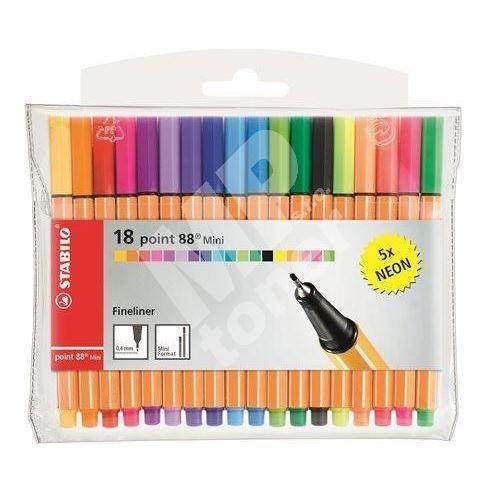 Fix - sada Point 88 Mini Neon, 0,4 mm, STABILO, 18 různých barev 1