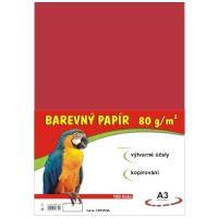 Barevný papír A3, 80g, červený, 100 listů