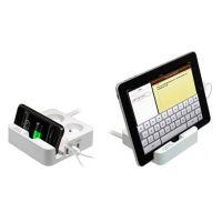 Přepěťová ochrana, 2 zásuvky, bílá, Logo, 3x USB, se stojánkem na tablet,mobil 3