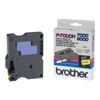 Páska do štítkovače Brother TX-631, 12mm, černý tisk/žlutý podklad, originál