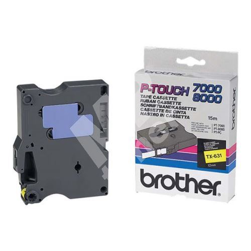 Páska Brother TX-631, černý tisk/žlutý podklad, originál 1