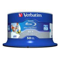25GB Verbatim BD-R SL, Hard Coat Wide Inkjet Printable, spindle, 43812, 6x, 50-pack