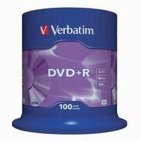 Verbatim DVD+R, DataLife PLUS, 4.7 GB, Scratch Resistant, cake box, 43551, 100-pack
