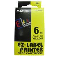 Páska do tiskárny štítků Casio XR-6YW1, 6mm, černý tisk/žlutý podklad, originál