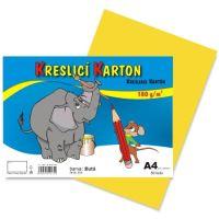 Kreslící karton A4, 180g, žlutý, 50 listů