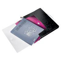 Desky s gumičkou Wow Jumbo, černá, 30 mm, PP, A4, LEITZ 10